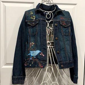 Vintage gap embroidered denim jean jacket
